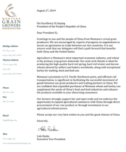 The Montana Grain Growers Association wrote this letter for Chinese officials.