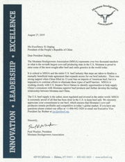 The Montana Stockgrowers Association wrote this letter to Chinese officials.