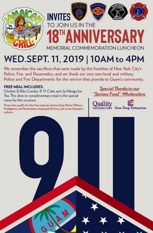 Jamaican Grill will be hosting a memorial luncheon from 10 a.m. to 4 p.m. on Sept. 11 to remember the sacrifices made by New York City's police officers, firefighters and paramedics.