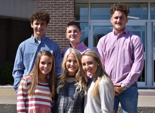The Freshman Homcoming Court includes, in front from left: Camille Crafton, Addie Clark and Savannah Lacer.  In back from left: Brayden Brown, Luke Dalton and Turner Mattingly.