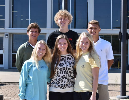 The Sophomore Homecoming Court includes, in front from left: Lillian Green, Abby Farmer and Lily Sinnett. In back from left: HP Hazelwood, Zander Wilson and  Ashton Todd.