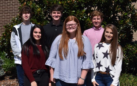 The Junior Homecoming Court includes, in front from left: Maggie McCormick, Marissa Littrell and Lanie Buckman.  In back, from left are: Blake McElhaney, Ben Dalton and Rad Mattingly.