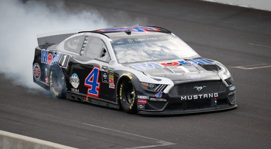 Kevin Harvick does a burnout after winning the 2019 Big Machine Vodka 400 at the Brickyard at Indianapolis Motor Speedway on Sunday, Sept. 8, 2019.