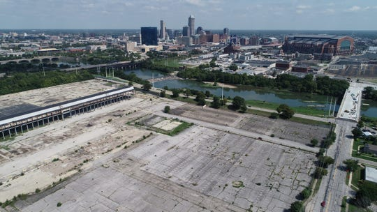A drone view of the former GM stamping plant south of Washington Street looking northeast toward Downtown Indianapolis.