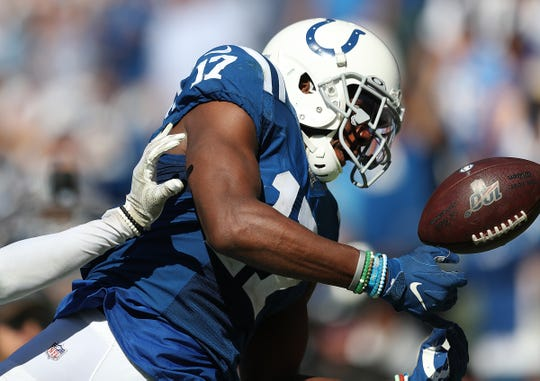 Indianapolis Colts wide receiver Devin Funchess (17) can not make this catch in the fourth quarter of their game at Dignity Health Sports Park in Carson, CA., on Sunday, Sept., 8, 2019.