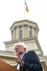 Democratic presidential candidate U.S. Sen. Bernie Sanders, I-Vt., speaks to supporters, Sunday, Sept. 8, 2019, on the Pentacrest in front of the Old Capitol Building on the University of Iowa campus in Iowa City, Iowa.