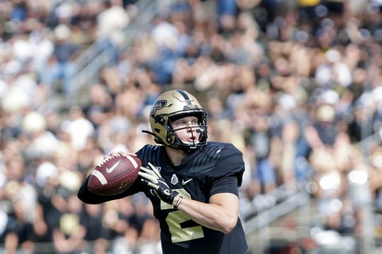 Purdue quarterback Elijah Sindelar (2) looks for an open receiver during the first quarter of a NCAA football game, Saturday, Sept. 7, 2019 at Ross-Ade Stadium in West Lafayette.