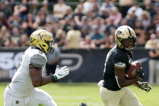 Purdue wide receiver David Bell (3) is tackled by Vanderbilt linebacker Caleb Peart (9) during the second quarter of an NCAA football game, Saturday, Sept. 7, 2019 at Ross-Ade Stadium in West Lafayette.