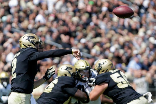 Purdue quarterback Elijah Sindelar (2) throws during the second quarter of a NCAA football game, Saturday, Sept. 7, 2019 at Ross-Ade Stadium in West Lafayette.
