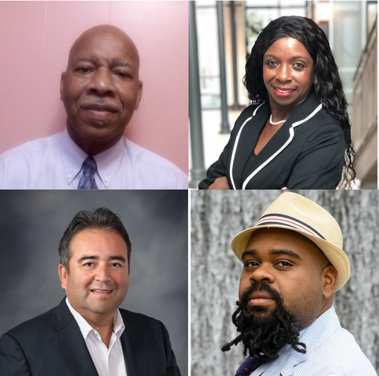"(Clockwise top left) Glenn Lazard, Janet Jackson, Aaron ""The Fixer"" Staten and Lionel Rodriguez are running to represent District 5, which covers most of downtown and east Lafayette, on the new city council this fall."