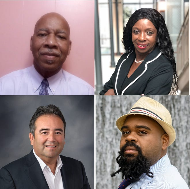 """(Clockwise top left) Glenn Lazard, Janet Jackson, Aaron """"The Fixer"""" Staten and Lionel Rodriguez are running to represent District 5, which covers most of downtown and east Lafayette, on the new city council this fall."""