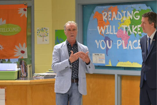 Francophone musician Zachary Richard was promoted to officer in the national order The French Academic Palms in a ceremony at Myrtle Place Elementary, a French immersion school in Lafayette, Monday, Sept. 9, 2019.