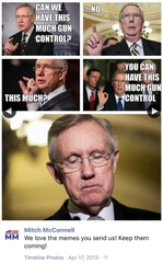 The McConnell campaign gloated with a meme soon after defeating gun safety legislation in 2013 that was pushed by Democrats after the massacre at Sandy Hook Elementary.
