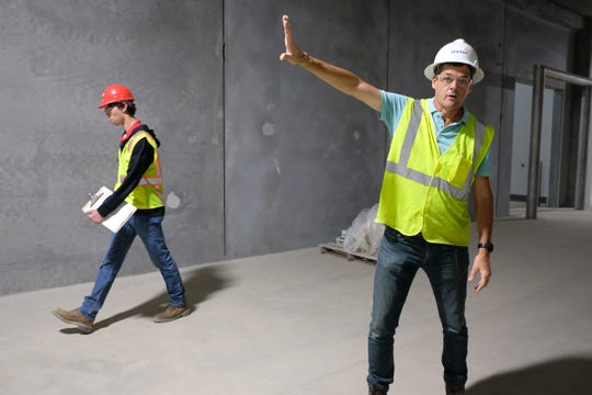 John Murphy Project Manager for Glanbia Foods in St. Johns, shows one of the large corridors built in new cheese factory Thursday, Sept. 5, 2019.