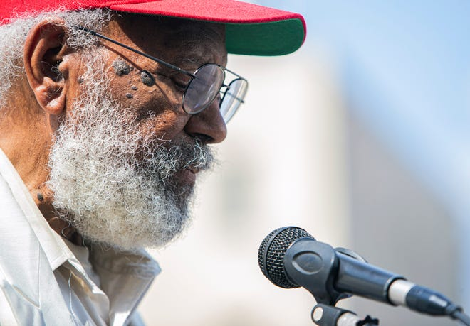 James Meredith speaks at the renaming ceremony at  157 Poplar Avenue, the downtown Shelby County Office building in Memphis on Monday.