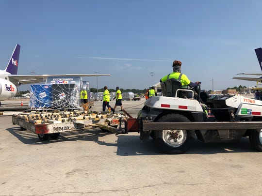 FedEx loaded a Boeing 757 cargo jet with more than 56,000 pounds of supplies for those dealing with the aftermath of Hurricane Dorian in the Bahamas.