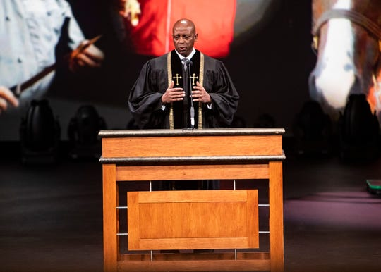 The Reverend Rufus Smith, senior pastor of Hope Church, gives the benediction during the memorial service for Nick Vergos, co-owner of The Rendezvous, at Hope Church in Cordova, Tennessee, on Monday, Sept. 9, 2019.