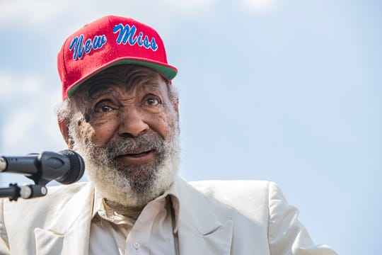 James Meredith speaks at the renaming ceremony of 157 Poplar Avenue, the Shelby County Election Commission building in downtown Memphis, Tenn., on Monday, Sept. 9, 2019.