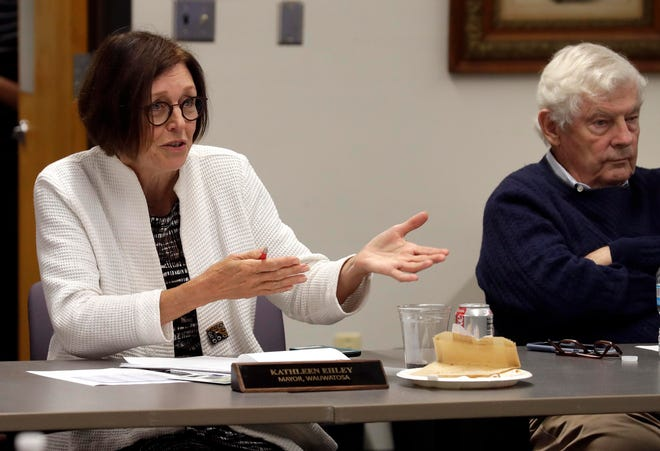 Kathleen Ehley, Mayor, Wauwatosa, asks questions during a meeting to pursue a new revenue solution that would be reinvested through property tax relief and community wide priorities during a hearing at the City of South Milwaukee Municipal Building, Council Chambers, Monday, September 9, 2019.