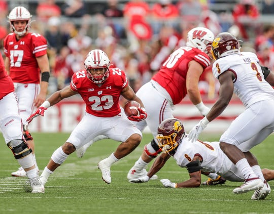 Jonathan Taylor, who fumbled 12 times and lost 10 in his first two seasons, has not coughed up the ball in Wisconsin's first two games this year.