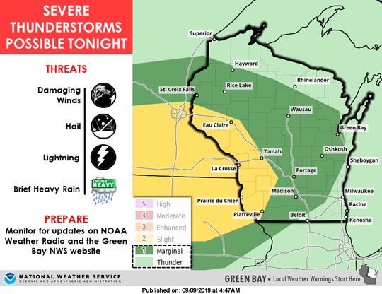 Severe thunderstorms are possible across portions of western and central Wisconsin on Monday.