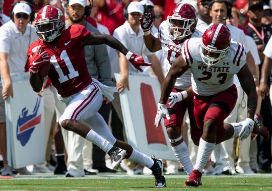 Alabama wide receiver Henry Ruggs, III, (11) breaks free for a long touchdown run early against New Mexico State at Bryant-Denny Stadium in Tuscaloosa, Ala., on Saturday September 7, 2019.
