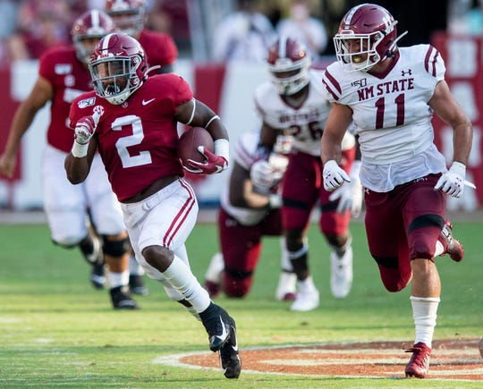 Alabama running back Keilan Robinson (2) carries for a long touchdown against New Mexico State at Bryant-Denny Stadium in Tuscaloosa, Ala., on Saturday September 7, 2019.