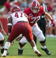Alabama offensive lineman Pierce Quick (72) against New Mexico State at Bryant-Denny Stadium in Tuscaloosa, Ala., on Saturday September 7, 2019.