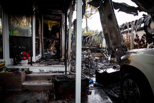 """The remains of a mobile home, which burned down in a fire early Saturday morning, on the 1800 block of Monticello Drive at Landmark Naples mobile home park, photographed on Monday, September 9, 2019. Frank and Judy Albero were woken up around 1a.m. by their dog barking and their neighbor knocking on the door to alert them to the fire. The Alberos say they are devastated to have lost their home, but they have received an outpouring of support from neighbors and family. """"Material things are just that, they don't matter. Our lives and our relationships are what's important,"""" Frank said."""