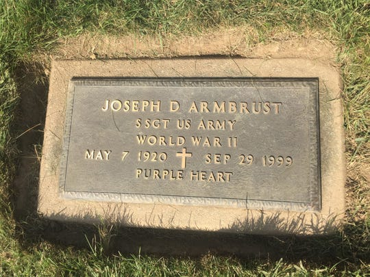 Joseph Armbrust's marker notes he was a Purple Heart recipient.