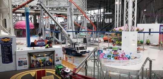Nickelodeon Universe Theme Park and DreamWorks Water Park under construction inside American Dream in August 2019