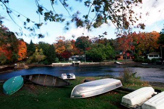 Drydocked boats are photographed at Cupsaw Lake's clubhouse.