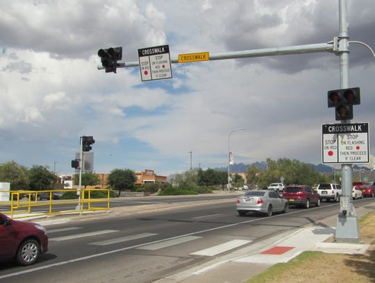 A new pedestrian crossing signal has been installed on University Avenue between the New Mexico State University campus and the Pan Am Plaza at 1719 E. University Ave.