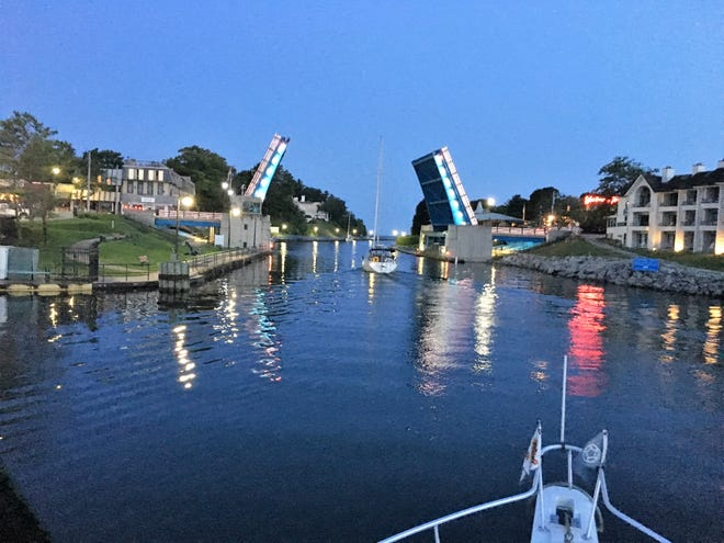 Rose and Dave Baker traveling through Charlevoix on the Great American Loop, a more than 5,600 mile boat journey which they completed over the course of 11 months.