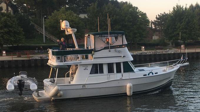 Rose and Dave Baker of Milford on board their boat, Sunshine Rose, at the start of their Great Loop journey, which departed Ludington, Mich. on Sept. 13, 2018 and arrived back in Ludington Aug. 10, 2019.