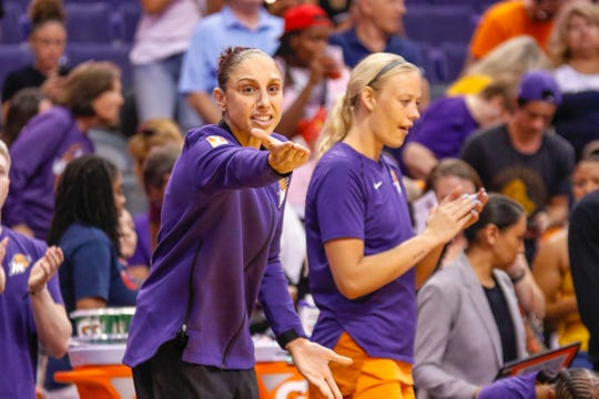Phoenix Mercury guard Diana Taurasi gestures towards an official in the first half against the Las Vegas Aces on Sep. 8, 2019 in Phoenix, Ariz