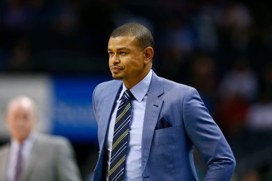 Mar 26, 2017; Charlotte, NC, USA; Phoenix Suns head coach Earl Watson looks on during the first half against the Charlotte Hornets at Spectrum Center. Mandatory Credit: Jeremy Brevard-USA TODAY Sports