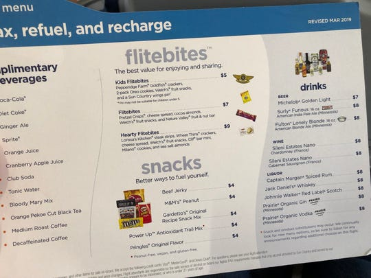 The menu card on Sun Country Airlines.