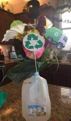 One of the centerpieces Charlie London and his family made out of recycled materials for his birthday party.