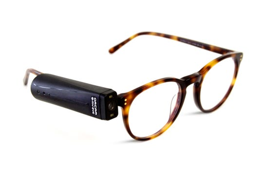 OrCam reading devices clip onto the glasses of a user and convert text into audio.