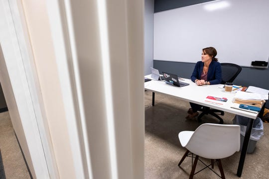 Theresa Winters works in her office in The Underground Friday, Sept. 6, 2019. Winters is the new enrepreneur in residence at The Underground, and manages its day-to-day operations.