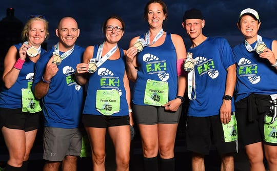 Mia Chong, Phil DiNonno, Karin McGuire, Cortney Resto, PJ Darcy and Geraldine LaGasse, members of the Focus Karin team, pose after the inaugural RiMaConn relay Aug. 24.