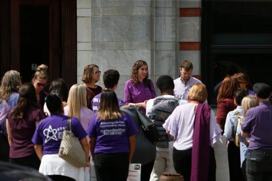 Supporters of Nicole Addimando wait outside Dutchess County Court on Monday September 9, 2019.