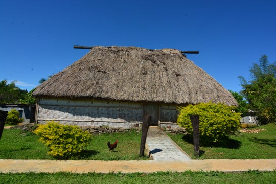 A traditional-style thatched house is where the chief lives in Fiji.