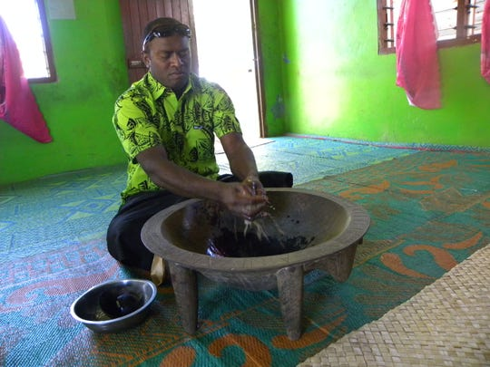 The kava ceremony is part of the traditional welcome in Fiji.
