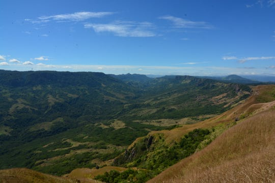 View from the top of the mountain shows the Nausori Highlands in Fiji.