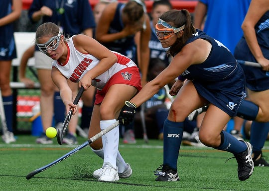 Susquehannock's Megan Stiffler passes the ball while being covered by Gloria Fleming of Dallastown, Monday, September 9, 2019.