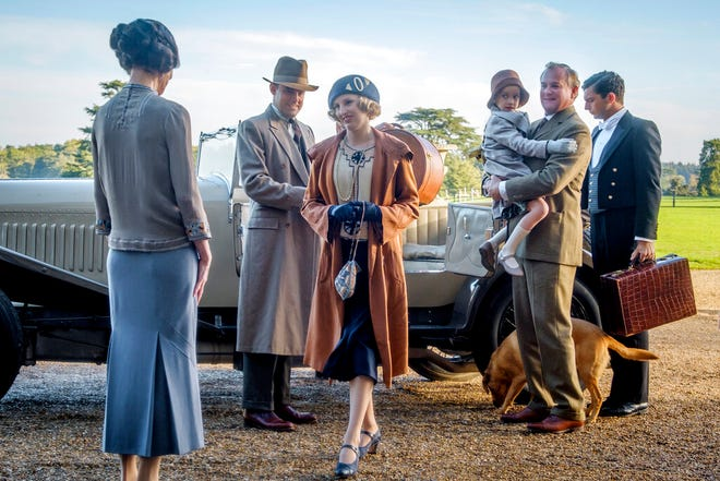 """Elizabeth McGovern, from left, Harry Hadden-Paton, Laura Carmichael, Hugh Bonneville and Michael Fox, right, in  """"Downton Abbey,"""" in theaters on Sept. 20."""