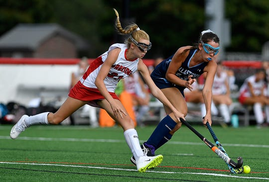Susquehannock's Addison Roeder, left, attempts to steal the ball away from Cassie Beeler of Dallastown, Monday, September 9, 2019.John A. Pavoncello photo