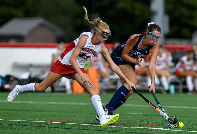 Susquehannock's Addison Roeder, left, attempts to steal the ball away from Cassie Beeler of Dallastown, Monday, September 9, 2019.
